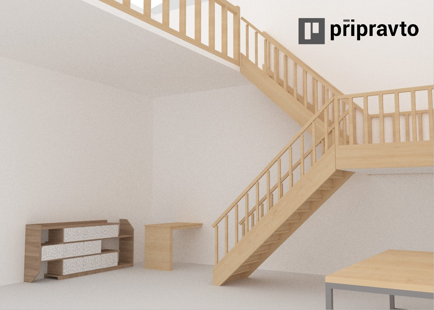 visualization design of interior with stairs