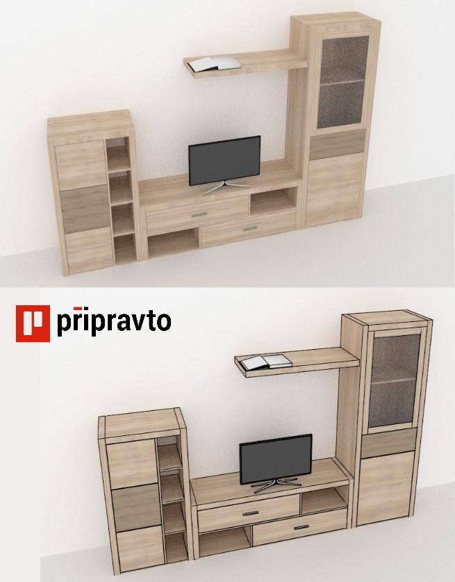 návrh nábytku pripravto tv set - různé vizualizace